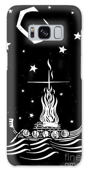 Mythology Galaxy Case - Woodcut Style Image Of A Viking Chief by Jef Thompson