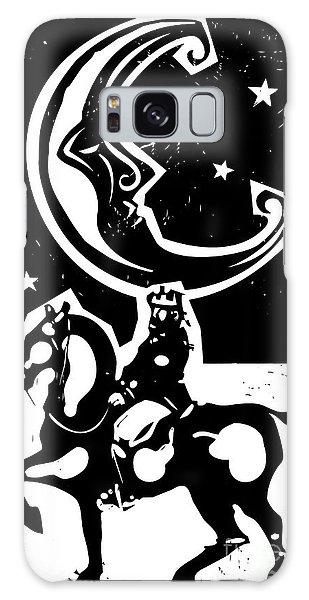 Mythology Galaxy Case - Woodcut Style Moon And Mounted King On by Jef Thompson