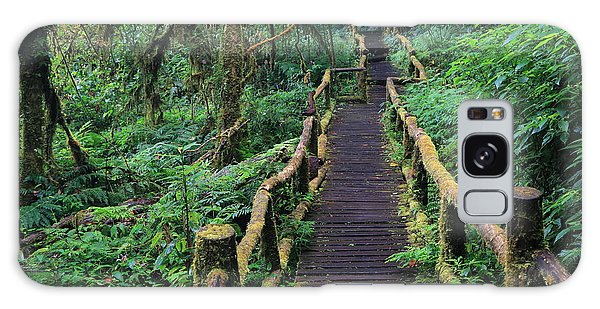 Old Road Galaxy Case - Wooden Bridge In Tropical Rain Forest by Korrakit Pinsrisook