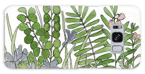Woodland Ferns Violets Nature Illustration Galaxy Case