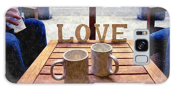 Word Love Next To Two Cups Of Coffee On A Table In A Cafeteria,  Galaxy Case