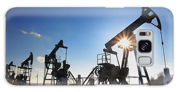Geology Galaxy Case - Working Oil Pumps Silhouette Against Sun by Kokhanchikov