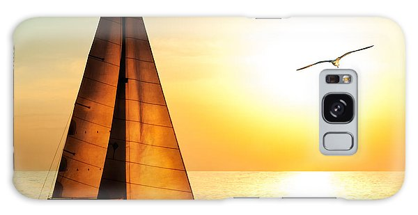 Seagulls Galaxy Case - Yacht Sailing Against Sunset. Holiday by Repina Valeriya