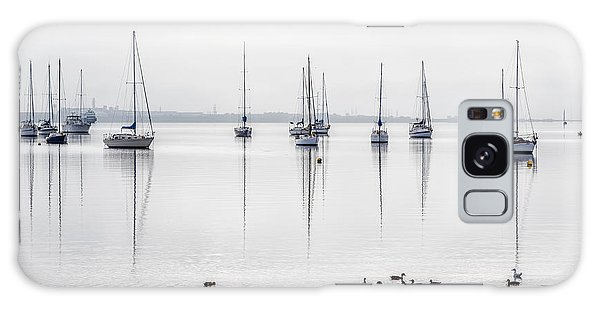 Docked Boats Galaxy Case - Yachts, And Early Morning Reflection On by Ketut Suwitra