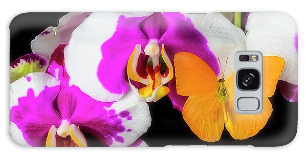 Orchidaceae Galaxy Case - Yellow Butterfly On Orchid by Garry Gay