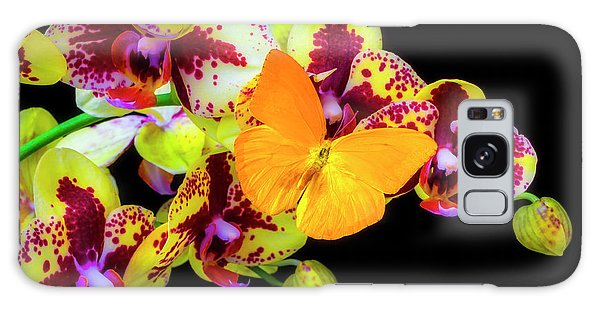 Orchidaceae Galaxy Case - Yellow Butterfly On Yellow Orchids by Garry Gay