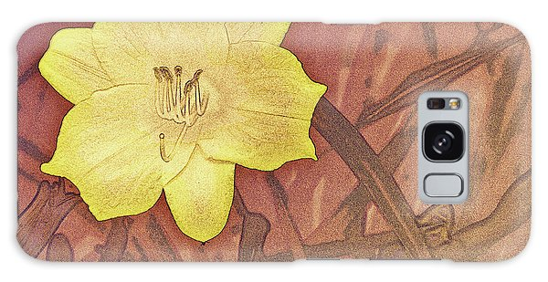 Yellow Day Lily Stencil On Sandstone Galaxy Case