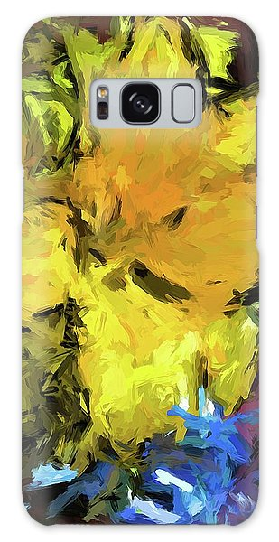 Yellow Flower And The Eggplant Floor Galaxy Case