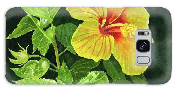 Hibiscus Galaxy Case - Yellow Hibiscus With Bright Green Leaves by Sharon Freeman