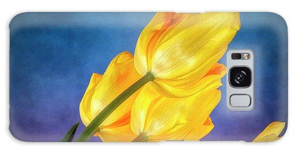 Tulips Galaxy Case - Yellow Tulips On Blue by Tom Mc Nemar
