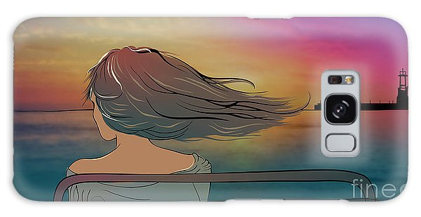 Dusk Galaxy Case - Young Beautiful Woman Sitting On The by Veronika By