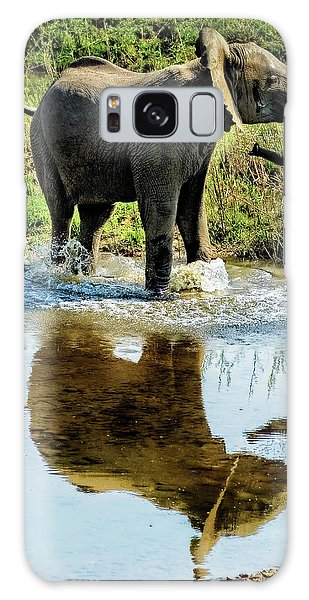 Young Elephant Playing In A Puddle Galaxy Case