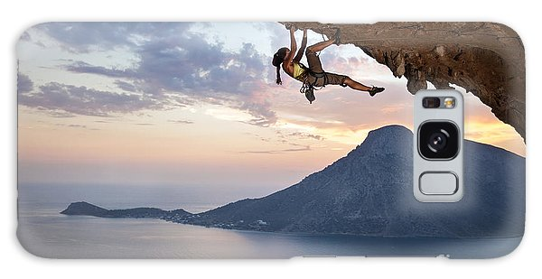 Success Galaxy Case - Young Female Rock Climber At Sunset by Photobac