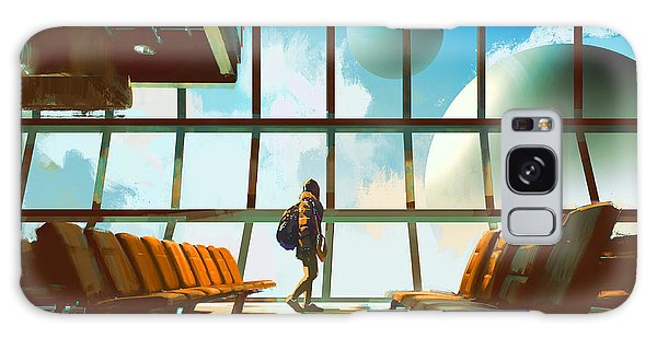 Airport Galaxy Case - Young Girl Walking In Airport Looking by Tithi Luadthong