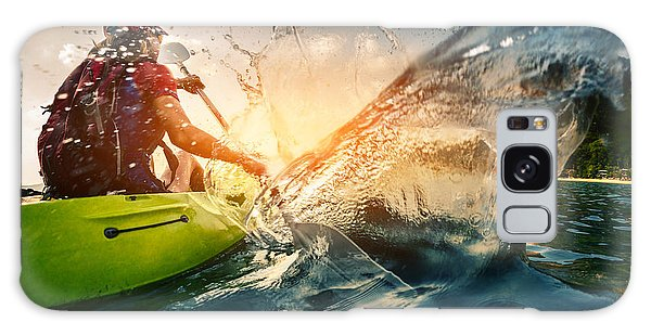 Tide Galaxy Case - Young Lady Paddling Hard The Kayak With by Dudarev Mikhail