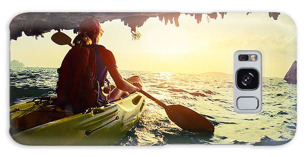 Tide Galaxy Case - Young Lady Paddling The Kayak From by Dudarev Mikhail