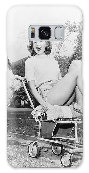 Comical Galaxy Case - Young Woman And Her Pushy Pet Dog by Everett Collection