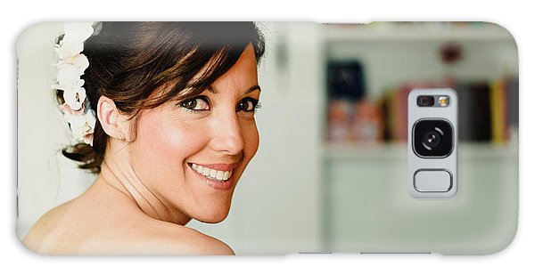 Young Woman From Behind Smiling Galaxy Case