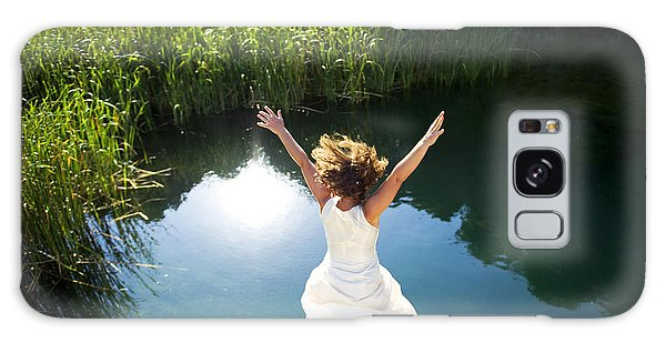 Active Galaxy Case - Young Woman In White Dress Jumping Into by Luna Vandoorne