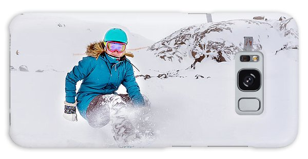 Young Galaxy Case - Young Woman Snowboarder In Motion On by Maxim Blinkov