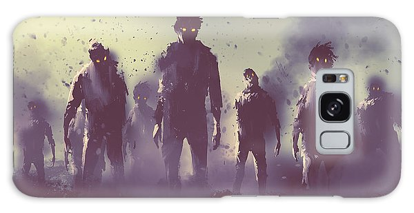 Nightmare Galaxy Case - Zombie Crowd Walking At Night,halloween by Tithi Luadthong