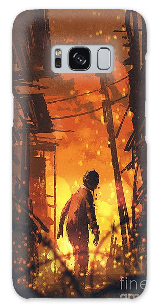 Nightmare Galaxy Case - Zombie Looking Back With Burning City by Tithi Luadthong