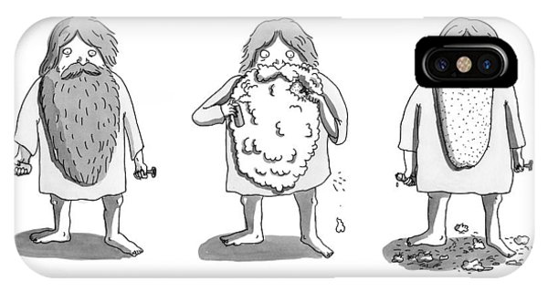 1 iPhone Case -  1. Man With Long Beard Holds Razor And Shaving by Zachary Kanin