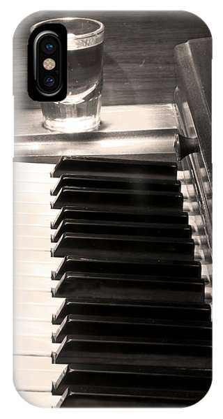 A Shot Of Bourbon Whiskey And The Bw Piano Ivory Keys In Sepia IPhone Case
