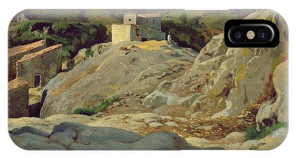 Barren iPhone Case -  A Village In The Mountains by Louis Gurlitt