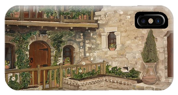 Greek Courtyard - Agiou Stefanou Monastery -balcony IPhone Case