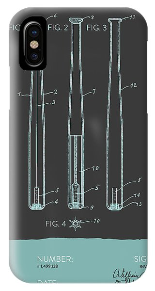 Baseball Bats iPhone Case -  Baseball Bat Patent From 1924 - Gray Blue by Aged Pixel