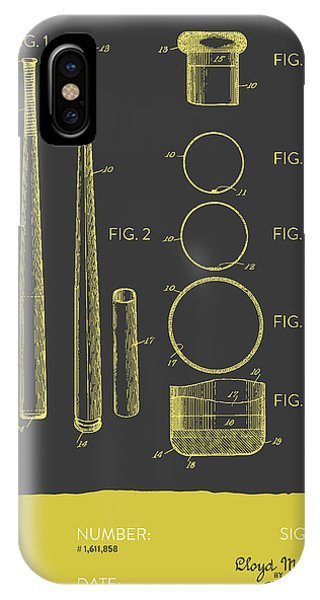 Baseball Bat Patent From 1926 - Gray Yellow IPhone Case