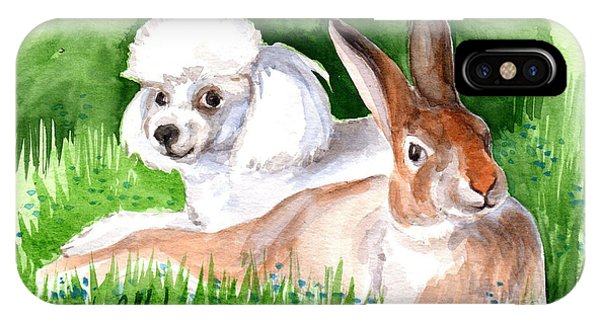 IPhone Case featuring the painting  Best Friends by Linda L Martin