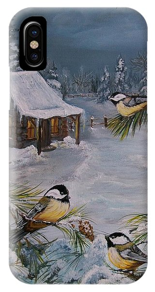 Black Capped   Chickadee's  IPhone Case