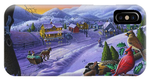 Christmas Sleigh Ride Winter Landscape Oil Painting - Cardinals Country Farm - Small Town Folk Art IPhone Case