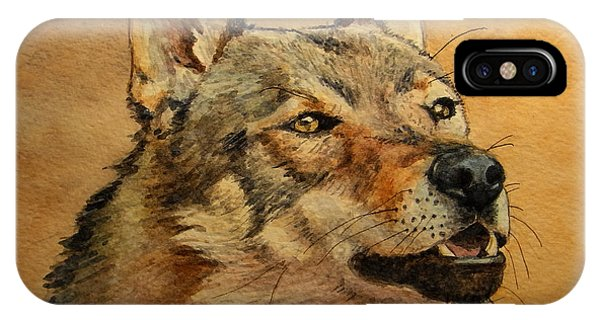 Watercolor Pet Portraits iPhone Case -  Czechoslovakian Wolfdog Portrait by Juan  Bosco