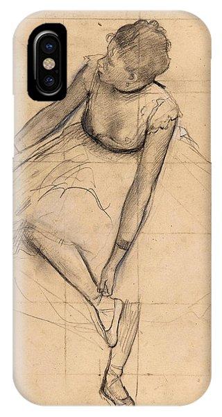 Impressionistic iPhone Case -  Dancer Adjusting Her Slipper by Edgar Degas