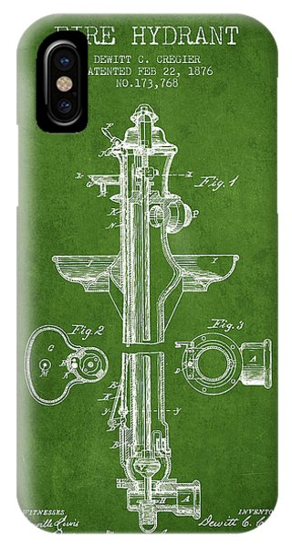 Fire Hydrant Patent From 1876 - Green IPhone Case