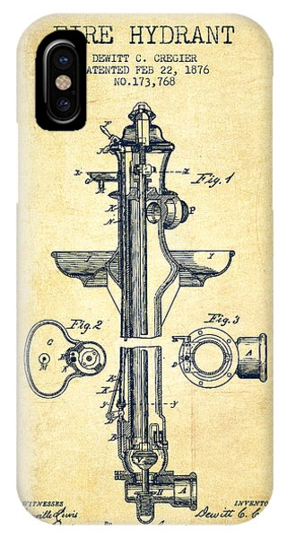 Fire Hydrant Patent From 1876 - Vintage IPhone Case