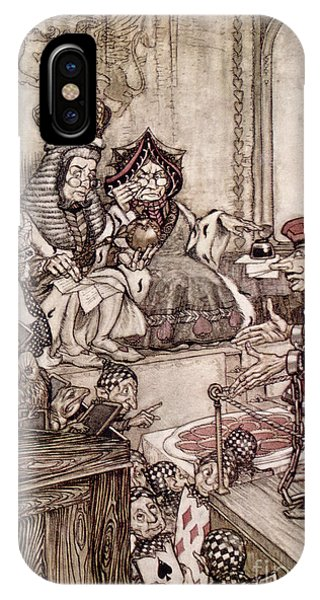 Trial iPhone Case -  Knave Before The King And Queen Of Hearts Illustration To Alice S Adventures In Wonderland by Arthur Rackham
