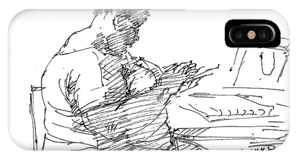 Sketch iPhone Case -  Lady On Smartphone  by Ylli Haruni