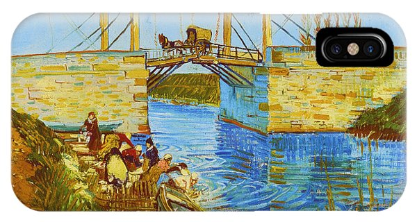 Langlois Bridge At Arles With Women Washing IPhone Case