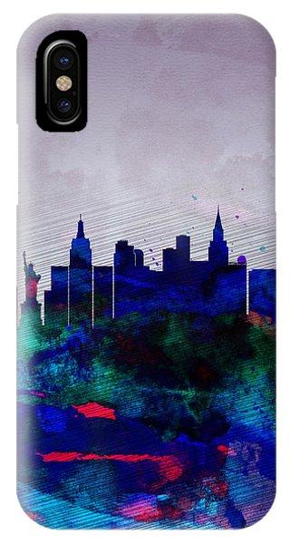 Las Vegas iPhone X Case -  Las Vegas Watercolor Skyline by Naxart Studio