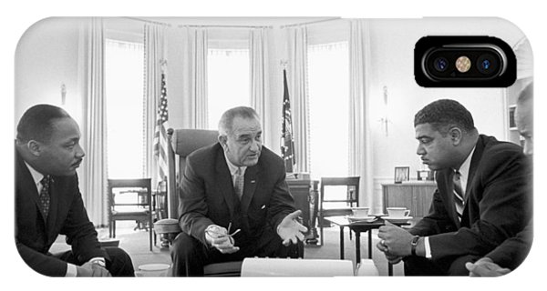 Lyndon Baines Johnson 1908-1973 36th President Of The United States In Talks With Civil Rights  IPhone Case