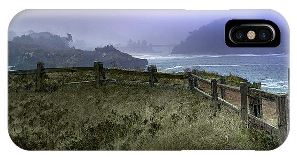 Mendocino Cliff Side Foggy Day   IPhone Case