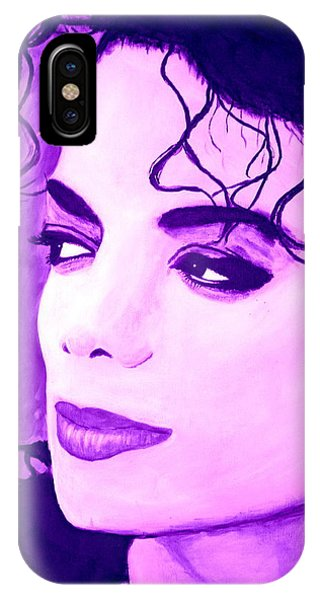 IPhone Case featuring the painting  Michael Jackson In Purple by Bob Baker