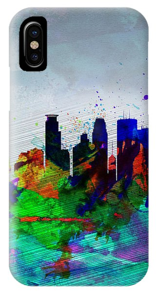 Minneapolis Watercolor Skyline IPhone Case