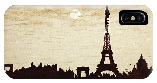 Paris Under Moonlight Silhouette France IPhone Case