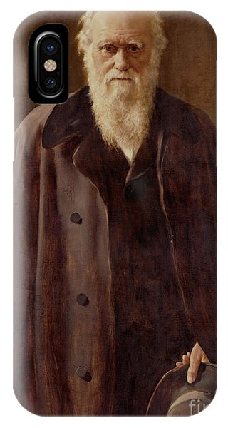 Coat iPhone Case -  Portrait Of Charles Darwin by John Collier