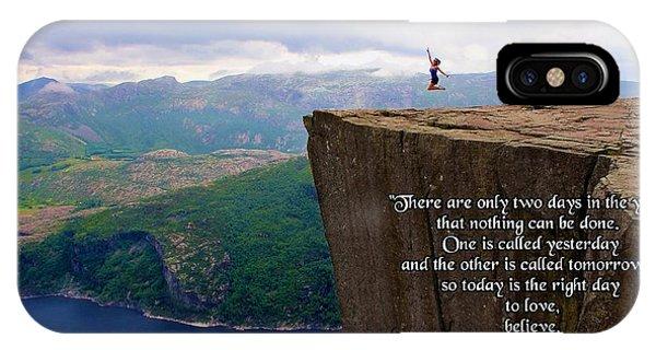 Preikestolen Pulpit Rock Norway Dalai Lama Quote  IPhone Case